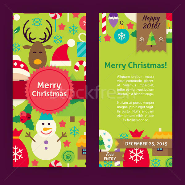 Flyer Template of Merry Christmas Objects and Elements Stock photo © Anna_leni