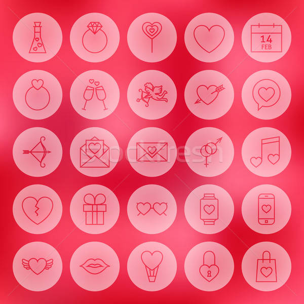 Valentine Day Line Circle Icons Set Stock photo © Anna_leni