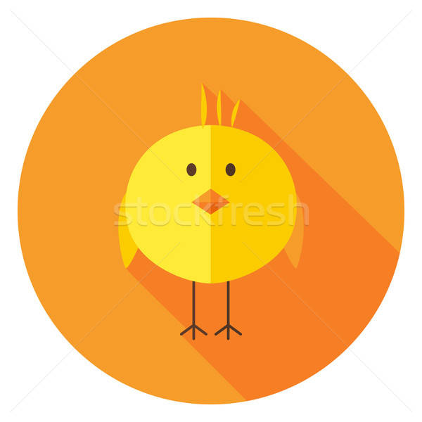 Yellow Chick Circle Icon with long Shadow Stock photo © Anna_leni