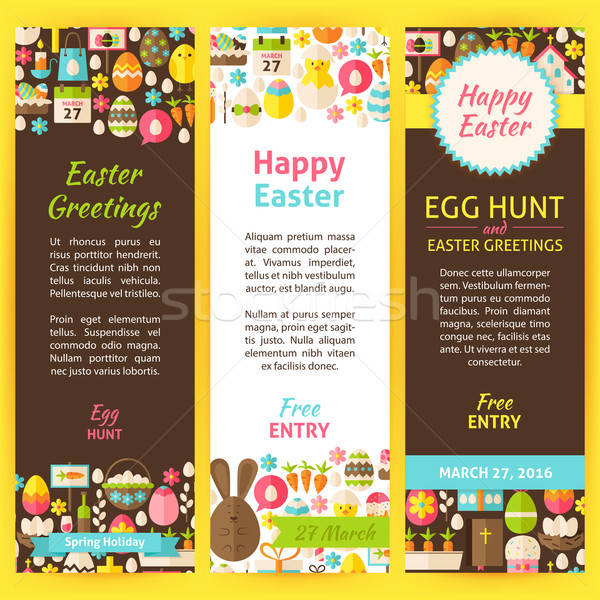 Happy Easter Vector Party Invitation Flyer Set Stock photo © Anna_leni