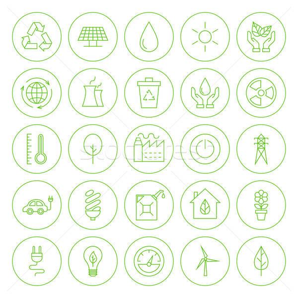 Stock photo: Line Circle Go Green Environment Icons Set