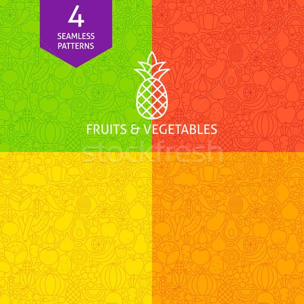 Stock photo: Thin Line Fruit Vegetable Pattern Set