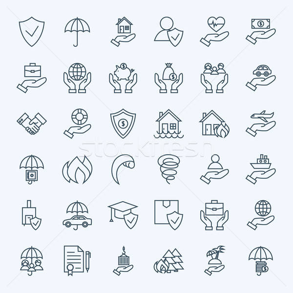 Line Insurance Service Icons Set Stock photo © Anna_leni