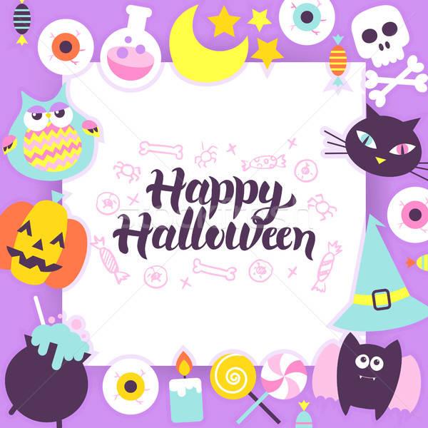 Szczęśliwy halloween papieru szablon sztuczka Zdjęcia stock © Anna_leni