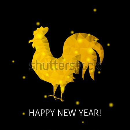 Polygonal Gold Rooster Silhouette Stock photo © Anna_leni