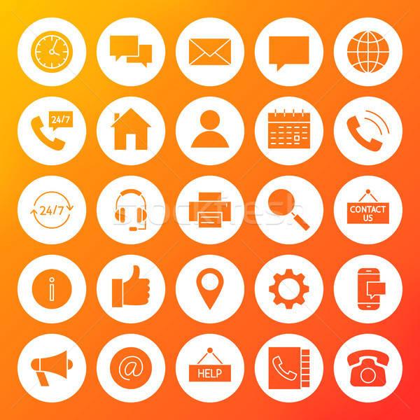 Sólido círculo iconos negocios Internet Foto stock © Anna_leni