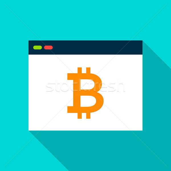 Bitcoin navegador icono largo sombra ordenador Foto stock © Anna_leni