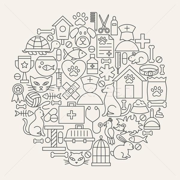 Veterinario clínica línea iconos círculo mascota Foto stock © Anna_leni