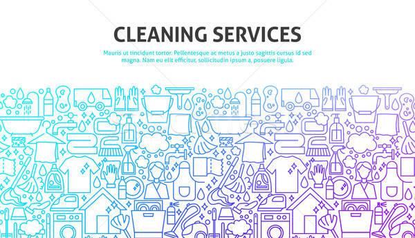 Schoonmaken diensten lijn website design banner sjabloon Stockfoto © Anna_leni