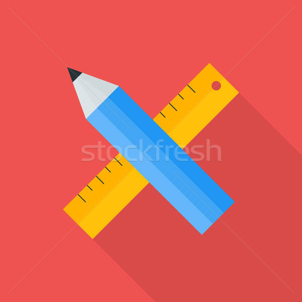 Pencil and ruler flat stylized Stock photo © Anna_leni