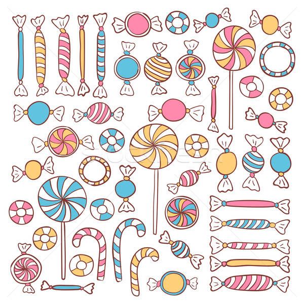 Doodle Candies Sweets Hand Drawn Objects Set Stock photo © Anna_leni