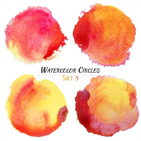 Foto stock: Acuarela · rojo · amarillo · colorido · círculos · establecer