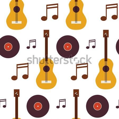 Four Vector Flat Seamless Music Instrument Guitar Musical Note V Stock photo © Anna_leni