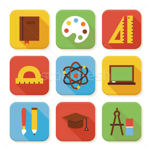 Stock photo: Flat School and Education Squared App Icons Set