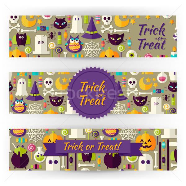 Zdjęcia stock: Halloween · wakacje · wektora · szablon · banery · zestaw