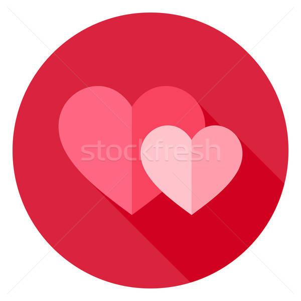 пару два сердцах круга икона дизайна Сток-фото © Anna_leni