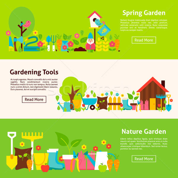 Nature and Gardening Tools Flat Horizontal Banners Stock photo © Anna_leni