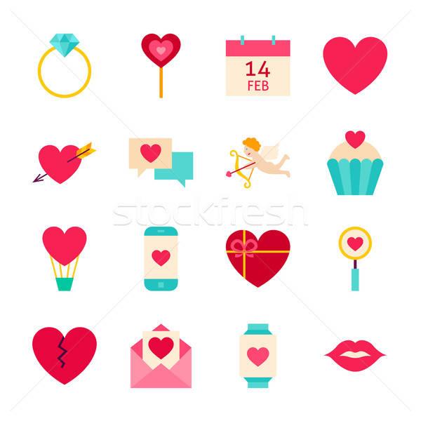 Stock fotó: Valentin · nap · szeretet · tárgyak · boldog · ünnep · gyűjtemény