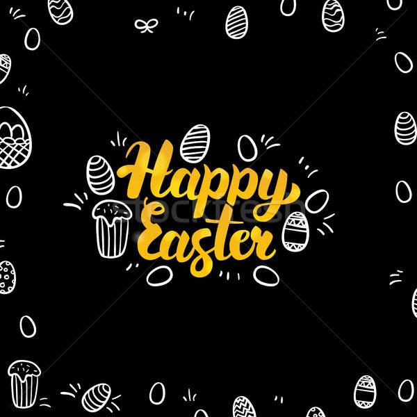 Húsvét arany fekete terv tavasz ünnep Stock fotó © Anna_leni