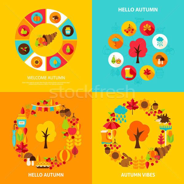 Zdjęcia stock: Jesienią · zestaw · czas · spadek · sezonowy · plakaty