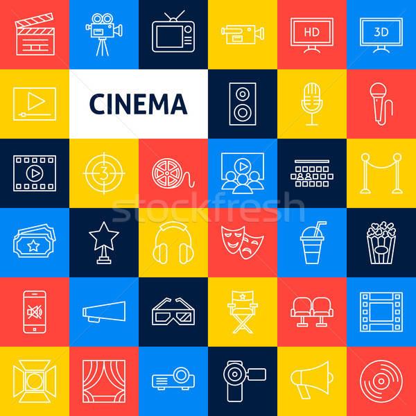 Stockfoto: Vector · bioscoop · lijn · iconen · dun · schets