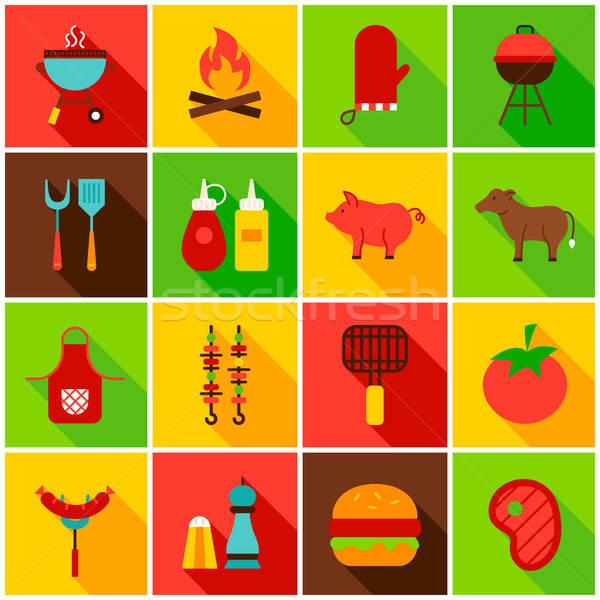 Barbecue étel színes ikonok ikon szett téglalap Stock fotó © Anna_leni