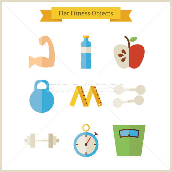 Flat Fitness and Dieting Objects Set Stock photo © Anna_leni