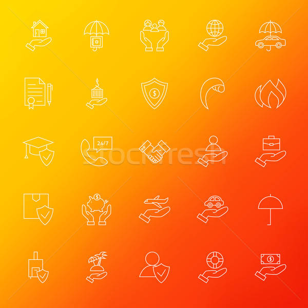 Insurance Services Line Icons Set Blur Stock photo © Anna_leni
