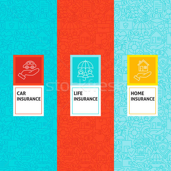 Line Insurance Patterns Set Stock photo © Anna_leni