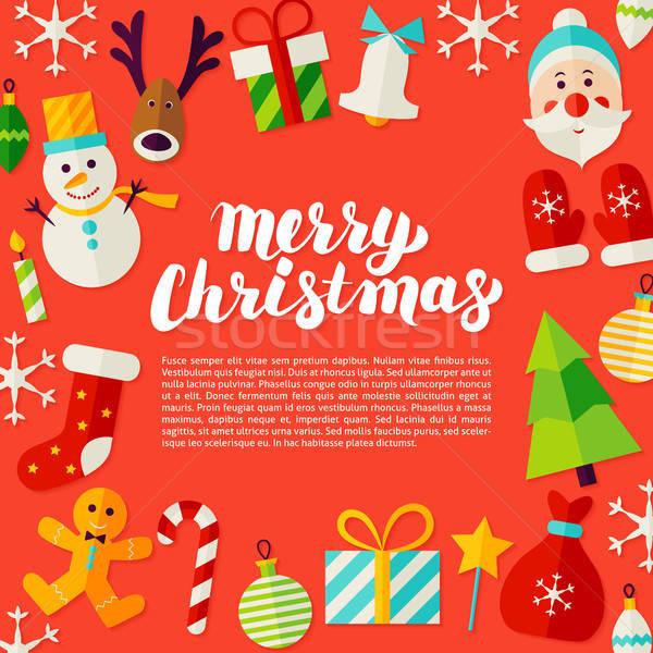 веселый Рождества открытки современных каллиграфия зима Сток-фото © Anna_leni