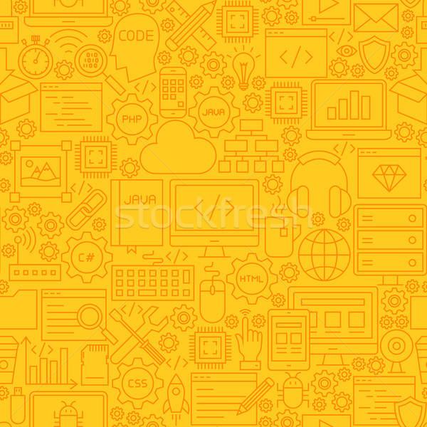 Programmazione giallo line piastrelle pattern contorno Foto d'archivio © Anna_leni