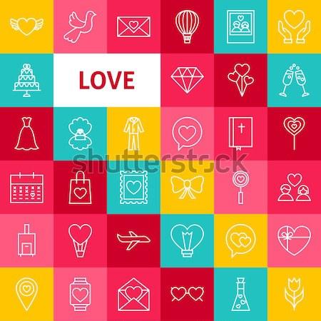 Love Web Glyphs Icons Stock photo © Anna_leni