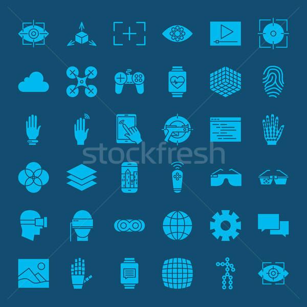 Zdjęcia stock: Faktyczny · rzeczywistość · stronie · ikona · wektora · zestaw