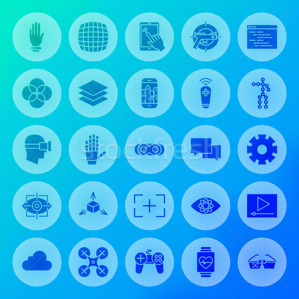 Virtual Reality Solid Circle Icons Stock photo © Anna_leni