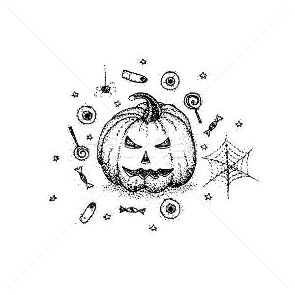 Dotwork Halloween Pumpkin Stock photo © Anna_leni