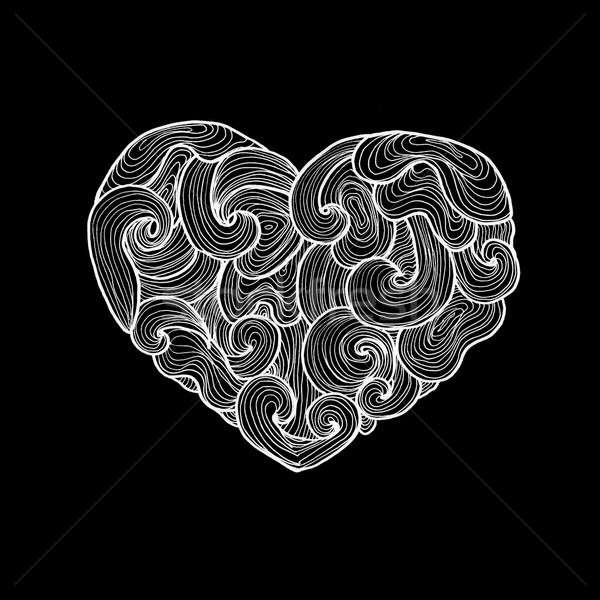 Stok fotoğraf: Karalama · kalp · siyah · örnek · sevmek · simge