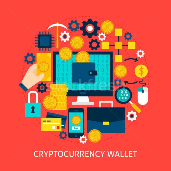 Pénztárca poszter terv szett pénzügyi tárgyak Stock fotó © Anna_leni