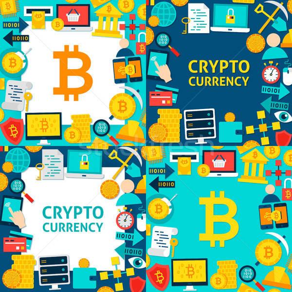 Bitcoin papír sablonok stílus üzlet pénz Stock fotó © Anna_leni