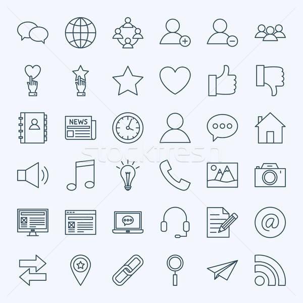 Line Social Media Icons Stock photo © Anna_leni