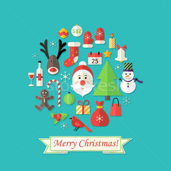 Stock fotó: Vidám · karácsonyi · üdvözlet · ikonok · kék · illusztráció · férfi