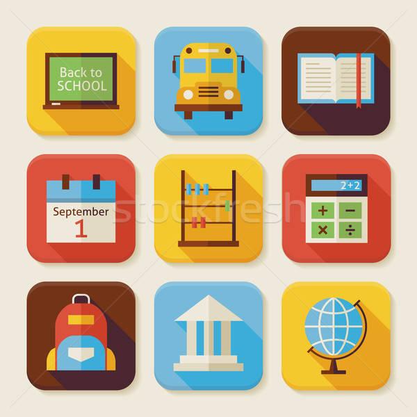 Vissza az iskolába app ikon szett stílus vektor illusztrációk Stock fotó © Anna_leni
