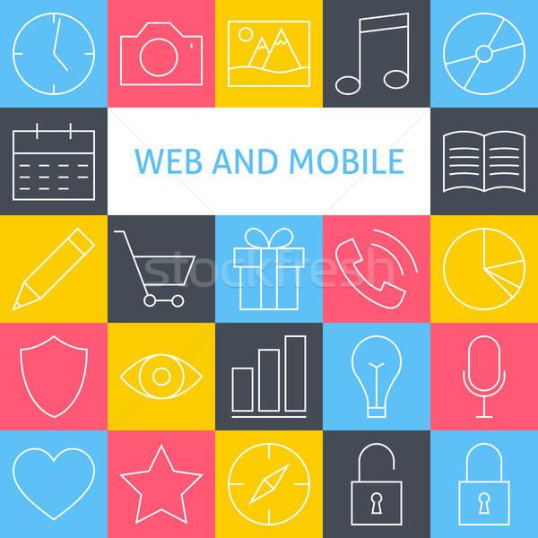 ストックフォト: ベクトル · 行 · 芸術 · 現代 · ウェブサイト · 携帯