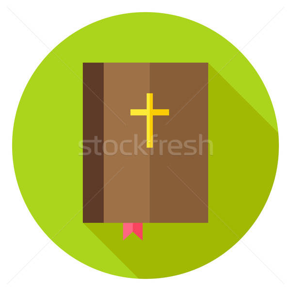 Christian Bible Book with Bookmark and Cross Circle Icon Stock photo © Anna_leni