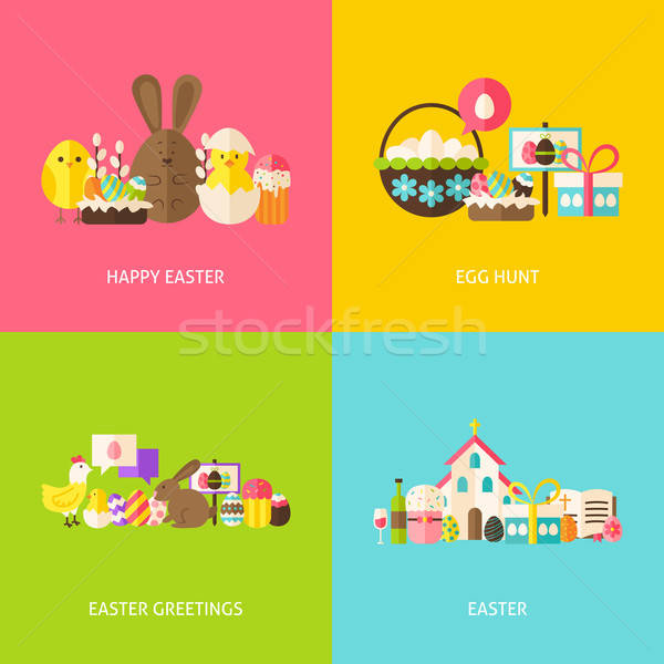 Happy Easter Greetings Flat Concepts Set Stock photo © Anna_leni