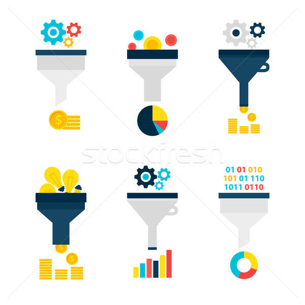 Funnel Chart Flat Objects Set isolated over White Stock photo © Anna_leni