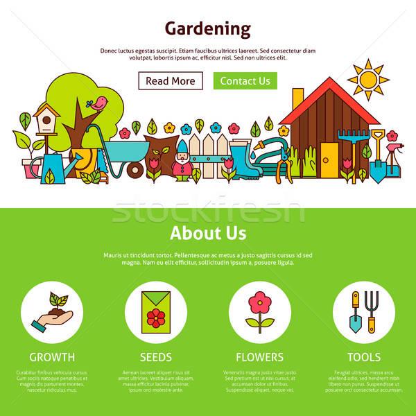 Gartenarbeit Gliederung Web-Design Vorlage Website Banner Stock foto © Anna_leni