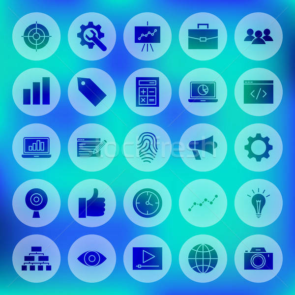 Stock photo: Solid SEO Circle Web Icons