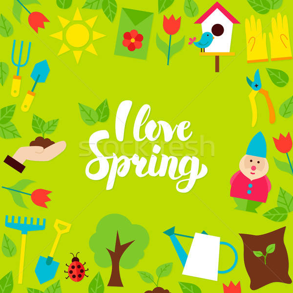 I Love Spring Lettering Postcard Stock photo © Anna_leni