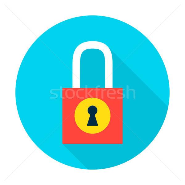 Foto stock: Cadeado · proteger · círculo · ícone · estilo · item