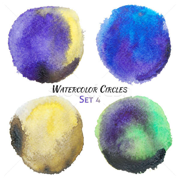Watercolor Purple Yellow and Green Colorful Circles Set  Stock photo © Anna_leni